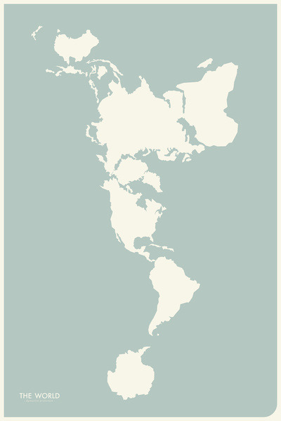 andyjohnson:  If the world were flat, a vertical map of the world, by Society6.