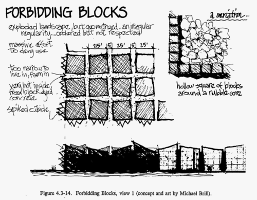 "Forbidding Blocks: house-sized irregularly-shaped blocks arranged in a grid 2 meters apart. ""Very hot inside, from black dyed concrete"", ""spiked outside"", ""too narrow to live in, farm in"" (concept and art by Michael Brill)"