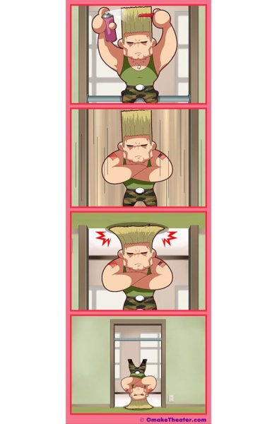 dorkly:  How Guile Does It After that, he catches a plane to beat up a stranger.