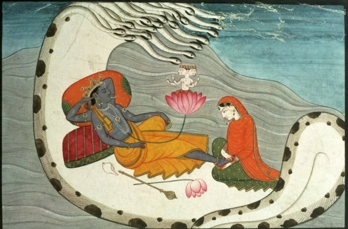 Vishnu and Lakshmi on Shesha Naga, ca. 1870 | Umbilical | Amruta Patil Pahari snakes are the best!