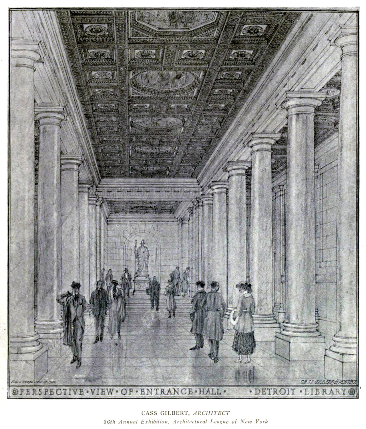 Inside the entrance hall of Cass Gilbert's public library building, Detroit