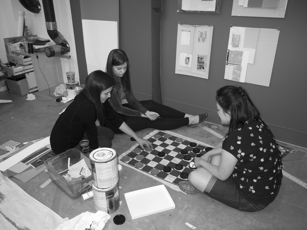 Cathy, Darja, and tammy playing checkers in Darja's studio last night