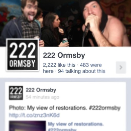 Finally hit #2222 likes on #facebook #222 #222ormsby thanks everyone.