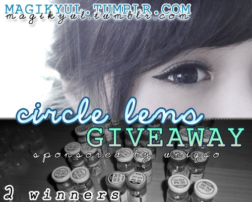 magikyul:  ▬▬▬▬▬▬CIRCLE LENS GIVEAWAY▬▬▬▬▬▬ There will be 2 WINNERS - 1 winner will be from Tumblr and the other will be chosen from Blogspot. Each winner can choose a pair of Big Dolly Eye Circle Lenses from UNIQSO's website (as they're sponsoring this giveaway). GUIDELINES: Must be following magikyul on Tumblr. Like UNIQSO's Facebook page. 1 reblog = 1 entry, so reblog this post (without removing the text) as many times as you'd like Likes will not count. For more chances of winning, click here to enter on blogspot (rules will be different, so make sure you read) - you can enter the giveaway on BOTH sites. START DATE: 4th Feb 2013END DATE: 24th Feb 2013