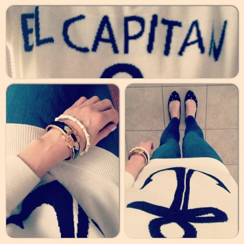 Ships ahoy! Sweater: Forever 21 Bracelets: Stella & Dot- Julep and Duchess Jeans: Gap Polka-Dot Flats: Gap