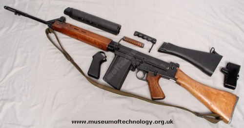 "L1A1 The British variant of the FN FAL, here shown with its sensational wood parts, with a set of plastic parts aswell. These rifles where made by RSAF Enfeild, and Lithgow in Australia. These rifle where adopted after a breif period of using the EM2 Rifle chambered in .280in, something the Brits toyed with after WW2 to replace there .303 Lee Enfeild no4's. Often fielded with a Trilux sight, these rifles because knows as being ""Soldier proof"" during there serivce. One of my favourite rifles fielded by the British!"