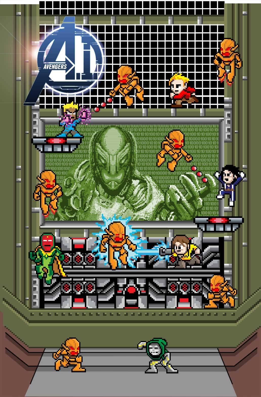 8-bit variant cover to Avengers AI #1 by Matthew Waite Oh, hey. Look what I'll be pre-ordering a gazillion copies of at my local comic shop. (via marvelentertainment)
