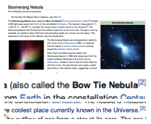 lumos5000:  The Bow Tie Nebula: the coolest place currently known in the Universe…. What time traveling alien could be responsible for this? Hmmmm…