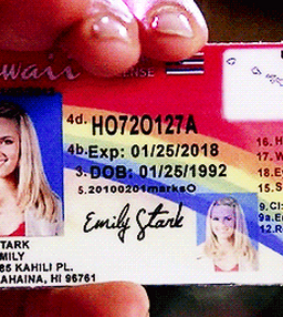 "notreallygleesecrets:  even Quinn's fake ID is super gay  ""Gayer than Quinn's fake ID"""