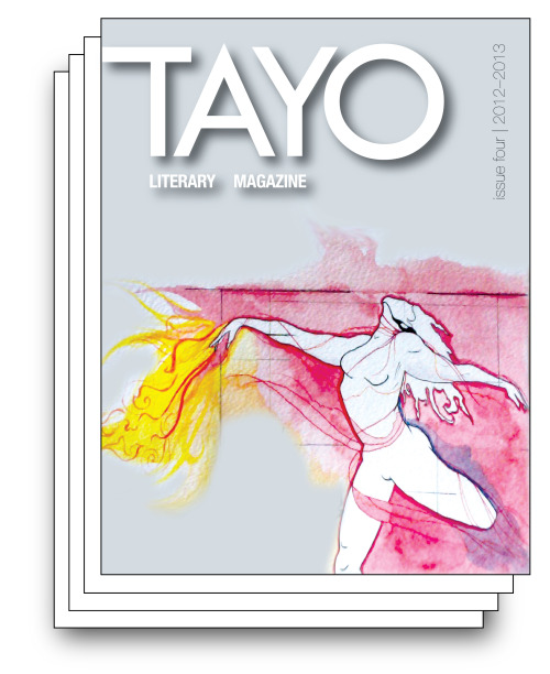 "A story of mine was published in the latest issue of TAYO Literary Magazine.  Check it out whenever you have a moment … ***** TAYO Literary Magazine © 2012–2013, Issue 4 ISSN (print) 2164-0270, (online) 2164-0289 Full-Color Version | $25.00 Black-and-White Version | $10.00 View Magazine Online Now in its fourth year of existence, TAYO has become our community's leading publication featuring exemplary literary and art works that speak to the Filipino and Filipino American experience. Over the years, TAYO has become an increasingly global publication, with our contributors hailing from all around the world. As executive director, I've witnessed TAYO grow from a mere idea born out of a brainstorm session over lunch in Los Angeles to the established publication it is with a team dispersed across North America. Indeed, this speaks to the truth that a clear vision and idea—giving Filipinos everywhere a chance to be heard—can transcend time and space. I beam with pride and overflow with respect for the key individuals who help continue to make TAYO a reality: Melissa Sipin, Paolo de la Fuente, Edward Mallillin, Michael Maglalang, and the rest of our staff. Without your time and effort, TAYO would cease to be an important medium where talented writers and artists showcase their work to the community and magnify their powerful message to the world. This year, TAYO's creative director, Melissa Sipin, hosted a political workshop in partnership with Anakbayan–East Bay, the comprehensive, national democratic mass organization of Filipino youth. In a series of five free writing workshops, she led and helped guide participants to shape their memoir, poetry, prose, or performance with an emphasis on impacting perceptions and the political in nuanced writing prompts. Next year, TAYO is planning to expand its focus and feature a special edition dedicated solely to highlighting first-rate literary and art works submitted by youth. Through these and other initiatives, TAYO remains alive and well, serving as a consistent force in the literary and creative world for our community. After all, we must always continue to strive to produce work ""for our culture, by our culture"" that will live on through the ages and serve as an artifact on which future generations may look back on and reflect. On behalf of the entire staff, we would like to thank you for your support and enthusiasm for TAYO and the arts. We hope you enjoy our fourth issue! In solidarity, Kristine A. Co Melissa R. Sipin Executive Director Creative Director"