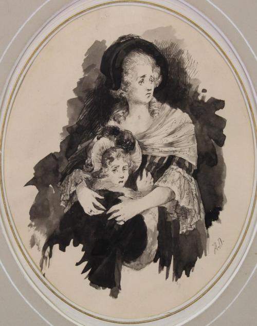 «Marie Antoinette avec la Dauphine», d'Otto Hierl-Deronco;  1883. [crédit: Auktionshaus Plückbaum, via Invaluable]