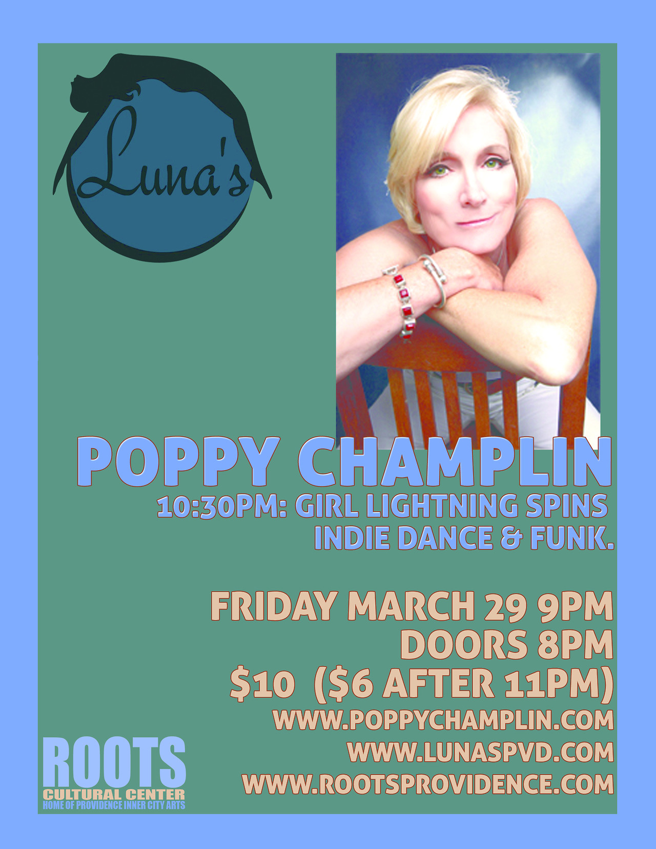 Comedian Poppy Champlin @ Luna's this Friday 3/29 @9pm, $10, 276 Westminster St. Providence