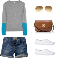 stuff i like: weekend strollin' in denim shorts  Iris & Ink colorblock top / Fat Face / Keds  shoes/ Tory Burch cross body handbag / Ray-Ban   me