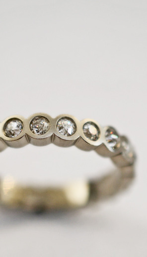 custom white gold & diamond ring with old European cut diamonds. J ALBRECHT DESIGNS