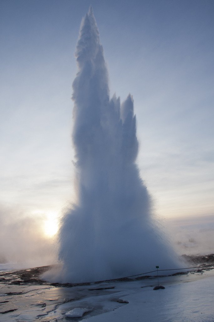 celestial-navigation:  Dawn at Strokkur in January. Geothermal power is AMAZING.