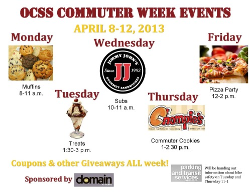 Join Off Campus Student Services this coming week! There will be free food, coupons and giveaways to celebrate our Commuters!!!