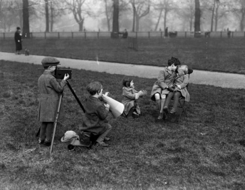 film kids child 'cinematographers' in hyde park producing a love scene, england, february 1928. photo by fox photos/getty images.