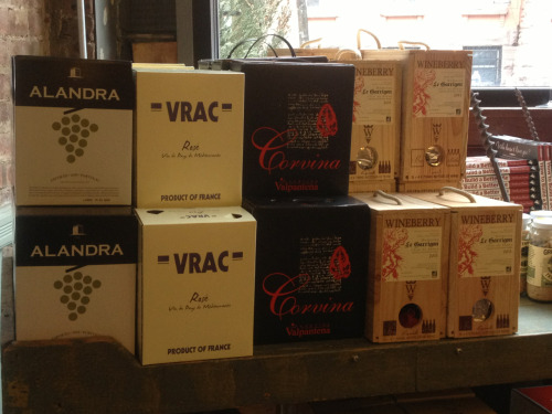 Wine in a box!   We're fully stocked on a new, dry Portuguese white ($20), VRAC rose ($28), Corvina ($25), and Wineberry Cotes du Rhone ($44). An eco-friendly, budget-friendly, crowd-friendly option for any night of the week.