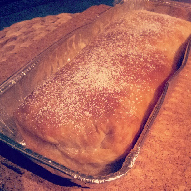 Freshly baked apple and caramel custard strudel #dessert #strudel