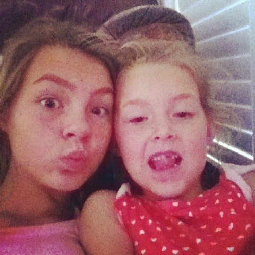 Silly morning faces with my little sis ava