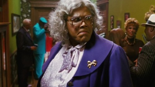 Tyler Perry tells Terry Gross about creating the character of Madea:  Madea is a cross between my mother and my aunt and watching Eddie Murphy, the brilliant Eddie Murphy, do The Klumps. I thought — maybe I should try my hand at a female character. And that's what came up. I thought I'd imitate the funniest person that I know, and she is the exactly the PG version of my mother and my aunt, and I loved having an opportunity to pay homage to them. She's a strong, witty, loving, I mean really, just like my mother used to be before she died. She would beat the hell out of you but make sure the ambulance got there in time to make sure they could set your arm back, you know what I mean? Because the love was there inside all of it. I know it sounds really strange, but that's the old-school mentality. That's why I think the character is so popular, because a lot of people miss that type of grandmother, everybody is so worried about being politically correct that she's no longer around.