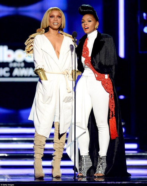 livelaughlovelocs:  elizabethswardrobe:  Erykah Badu and Janelle Monae at the Billboard Awards.  Rocking their music video outifts