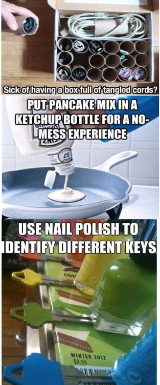 bohemianredneck:  Hey Katherine!!!!! Here are some life hacks for you!!!!!   GENIUS!!!! I love whoever thought of this!