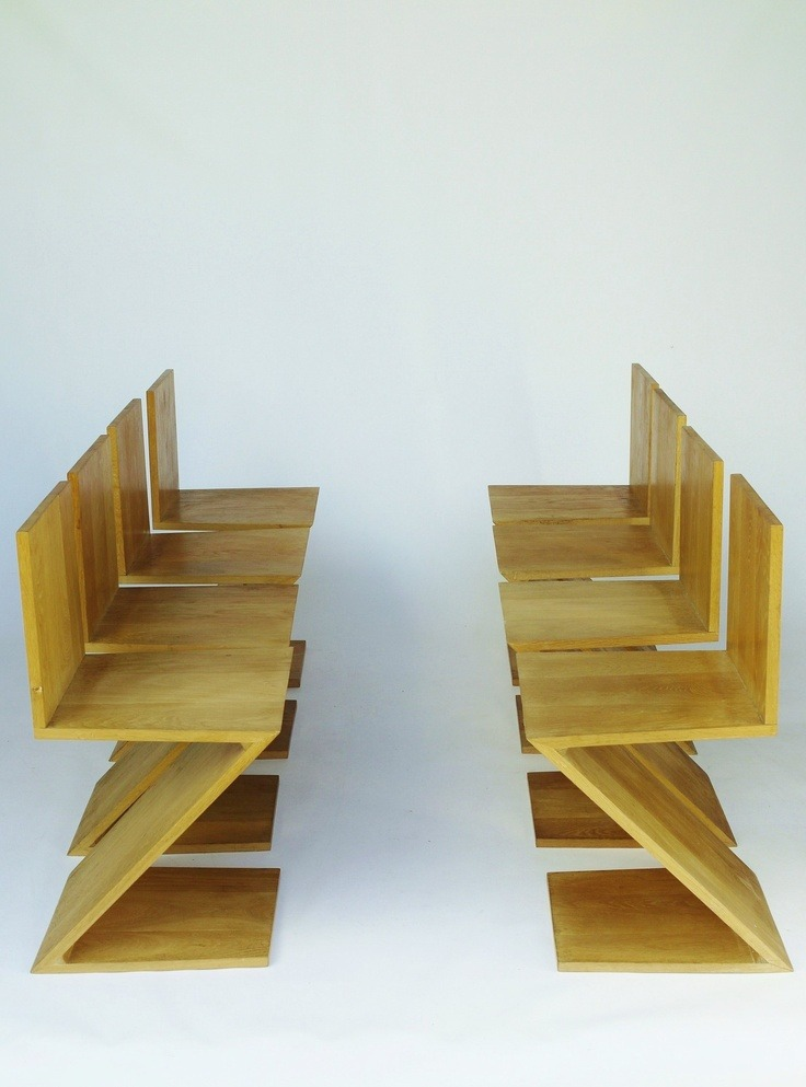 oak chairs by Gerrit Rietveld