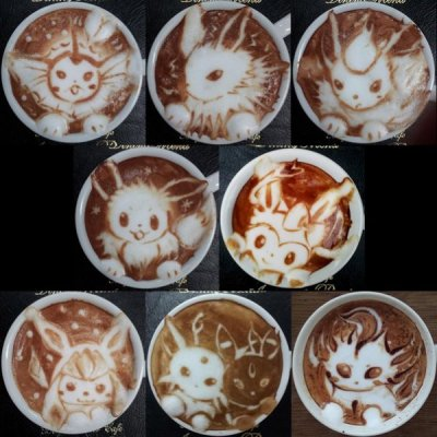 beben-eleben:  Eevee Evolutions Latte Art