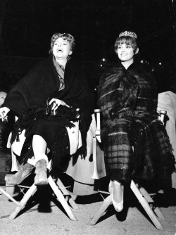 Rita Hayworth and Claudia Cardinale on the set of Circus World in 1964.