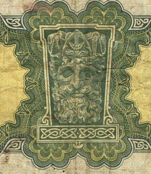 The Green Man on an old Irish pound note. https://www.facebook.com/photo.php?fbid=132805563548342&set=a.121270128035219.23599.100004566974568&type=1&ref=nf