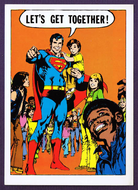 Superman greeting card (1970s) Adams art