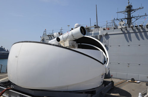 Navy Ship Shoots Down Drone With Laser Blaster Star Wars fanatics who've longed for the days of fleets of laser-equipped vessels blasting enemies out of the sky and sea, your ship has quite literally come in.