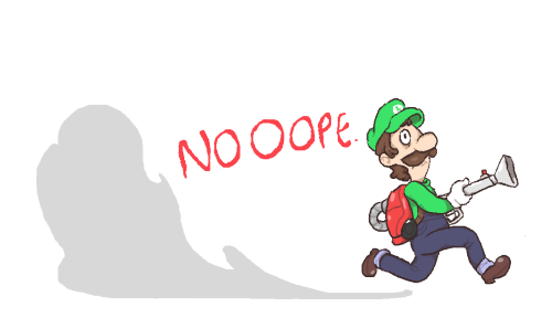 inkerton-kun:  I wanna get luigi's mansion 2, it looks really good and heard it's loaded with content and other good stuff also here's a drawing i made of luigi noping the fuck out