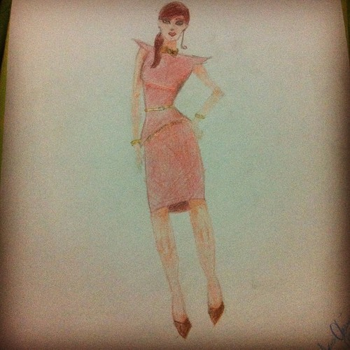 Mi primer boceto a color :3 #fashion #desing