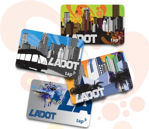 Get A Limited Edition LADOT TAP card! The Downtown Art Walk has become synonymous with the new Downtown Los Angeles.  The City of Los Angeles Department of Transportation's (LADOT) DASH and Commuter Express bus services are also important contributors to what is Downtown Los Angeles today. These two icons of Downtown LA have partnered to accelerate the growing connection between the arts community and public transit.  On Thursday May 9, 2013 LADOT will be sponsoring the Art Walk and during that event, unveiling its limited edition TAP smart cards and making them available to the gallery-goers. The LADOT branded TAP card is available in four limited edition designs. There is no charge for the card when you add as little as $5 of stored cash value to the card during the Art Walk event.  The new cards will be available in the Art Walk Lounge at 634 South Spring Street from 6-10pm on May 9th.