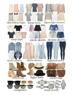 eleanors-clothes:  eleanors-clothes:  Eleanor inspired spring essentials! Loose top, $99 / American Vintage v neck top, $89 / Brandy Melville knit shirt / Loose top / AllSaints pullover shirt / Grey Line By Hussein Chalayan short shirt / Monki knit shirt, $53 / Monki stripe tee, $26 / Acne boat neck shirt / Cropped tee shirt / Madewell pocket shirt / Topshop vintage style t shirt / Topshop knit shirt / Jigsaw pleated shirt, $74 / Crew neck shirt / Topshop lace tank top / Shell top / Topshop cropped tee shirt / Forever New sleeveless tank top, $62 / Motel black cotton shirt, $36 / Topshop crop tee / Cropped t shirt, $9.70 / Topshop chiffon shirt / Long shorts / Neon Hart summer shorts, $83 / Miso hot denim shorts, $40 / Dr. Denim highwaist shorts, $92 / Forever New , $41 / Elastic waist skirt / River Island black knee length skirt, $29 / Stella McCartney scalloped skirt, $985 / Pleated skirt, $31 /Darling cream cocktail dress, $74 / H&M button down dress, $24 / Acne vintage denim jacket / J Brand jean jacket, $220 / Forever New studded vest, $73 / Topshop / Super skinny jeans / Super skinny jeans / Genuine leather boots / Modern Vintage stacked heel, $245 / ASOS  boots / Madison Harding kitten heel boots / Marc by Marc Jacobs top handle bag, $365 / Mulberry leather satchel handbag, $800 / Mulberry genuine leather handbag, $1,495 / Burberry leather cross body handbag / FOSSIL leather wrap watch / Michael Kors bracelets jewelry / Lipsy sparkle jewelry, $16 / Marc by Marc Jacobs marc jacob / Accessorize leaf jewelry / Bangle jewelry / Fantasy Jewelry Box engraved jewelry / Agent Ninetynine straw hat, $26 / Brimmed hat / Ray-Ban wayfarer style sunglasses, $195 / Ray-Ban tortoise sunglasses / Ray-Ban  optical / Hat Attack floppy sun hat / Ray-Ban  optical / Topshop knit beanie hat  spring essentials for those who asked x