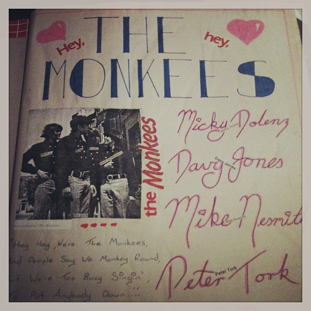 Title page to my #Monkees scrap book If only I put that much effort into my school work! #1986 #MickyDolenz #DavyJones #MichaelNesmith #PeterTork