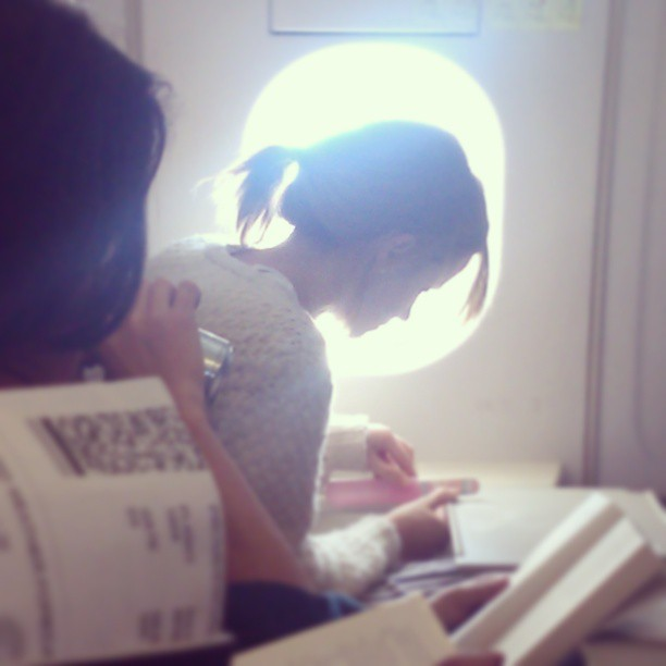 "emmawatsonupdates:  Another sneaky picture of Emma Watson from yesterday. Inside the plane this time. Like the person who posted it said, ""so creepy"" XD Credit: x"