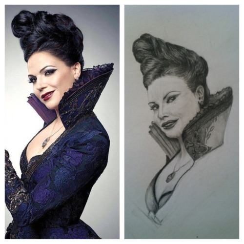 jazzymbf:  Here's a side by side of my drawing and my reference. It's coming along.