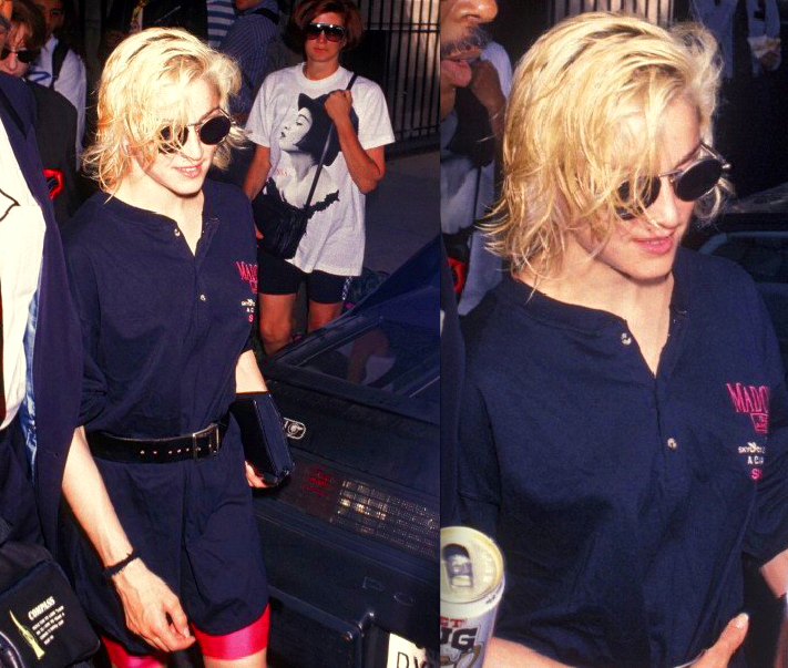 musicboxdeluxe:  amen-madonna:  Pink bike shorts candid at NASSAU VETERANS MEMORIAL COLISEUM IN UNIONDALE (13.06.1990)   she was always on it fashion wise