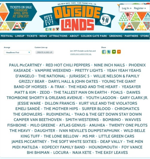 Not missing out this year. Outside Lands 2013…here I come!