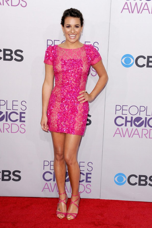 Lea Michele @ the 2013 People's Choice Awards in Elie Saab (sandals, too!).