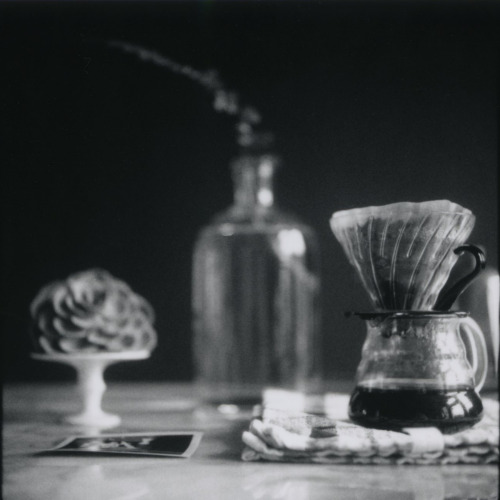 365daysofcoffee:  Morning coffee in monochrome. Hasselblad 500CM | Polaroid Back | Fuji FP 3000B