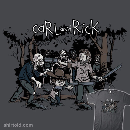 shirtoid:  Carl and Rick by David Johnston is available at Redbubble