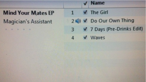 Tracklist to the new Magician's Assistant EP. Artwork possibly on the way also. Should be on the net in the next few weeks! Mellow house-ish vibes all around……I am excited for people to listen to this!