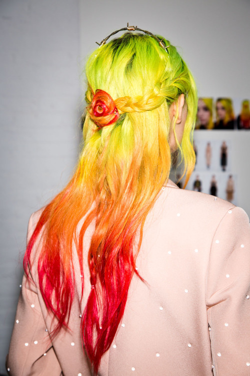 Neon hair at Rodarte. Photo: Mark Leibowitz