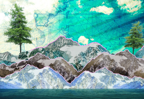"Been trying my hand at a little digital collaging. ""Mountains See Sea"""
