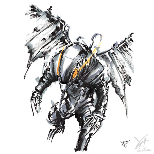 Bioshock Suit creature antagonist bird of prey ink minimalism