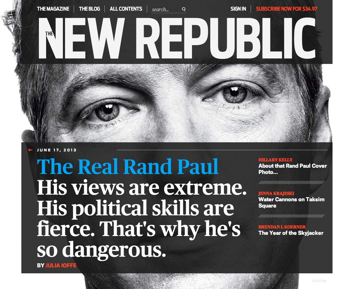 "Here's a piece for the libertarians out there: The New Republic has a story laying out the potential for Rand Paul to follow in his movement-creating dad's footsteps, noting that Rand's strength is that he's a strong political player, not just an ideologue. The NSA scandal only plays into that, Julia Ioffe writes: ""This is a moment tailored for Rand Paul, more than for Marco Rubio or Chris Christie, or anyone else in the potential Republican 2016 lineup."" Read on for a pretty solid talker."